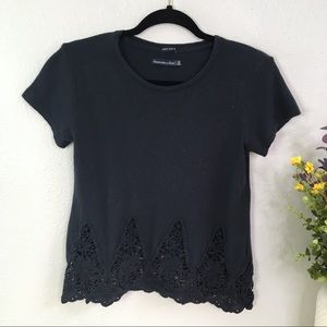 Abercrombie & Fitch floral lace cotton tee shirt